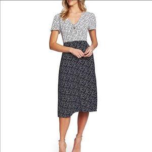CeCe Sheath Colorblock Floral Tie Front Dress NWT